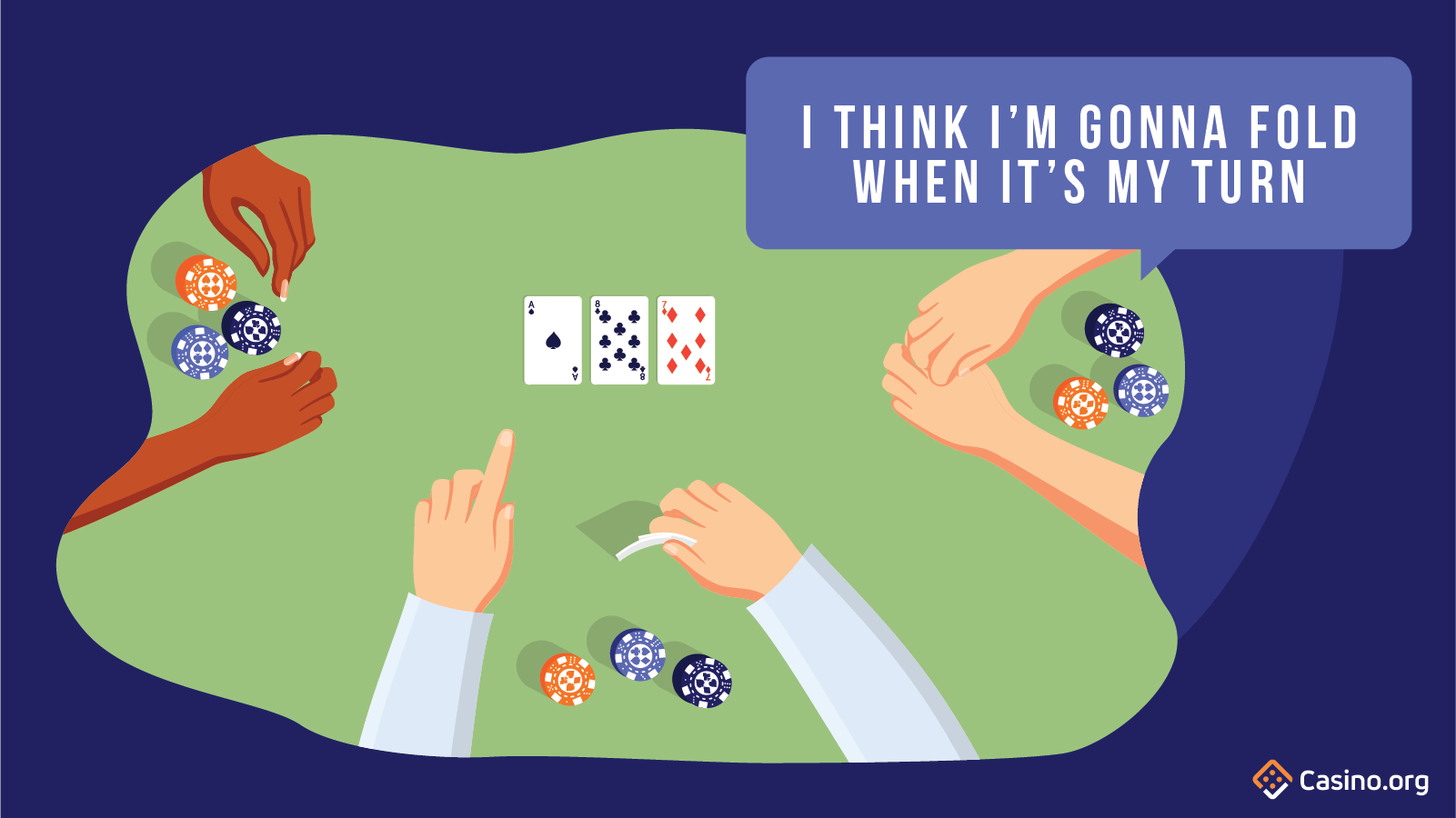 Someone speaking out of turn in poker.
