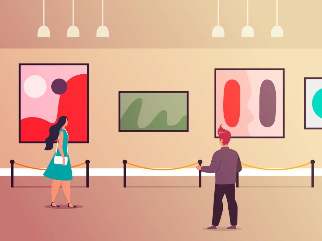 People walking around art gallery