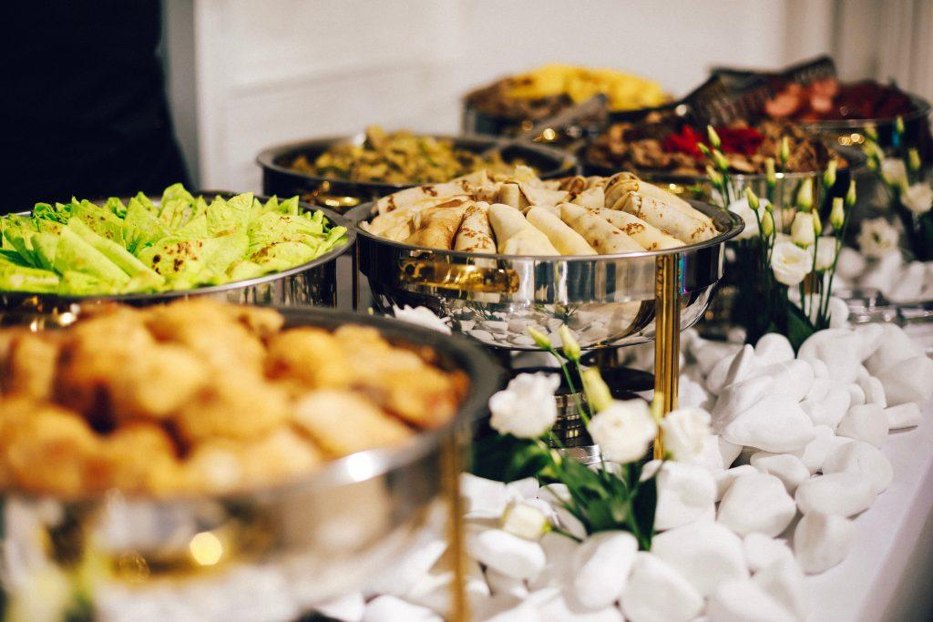 Buffet with spring rolls