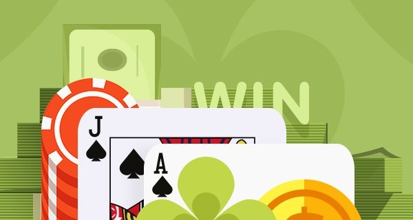 An image of the hand, blackjack on a green background