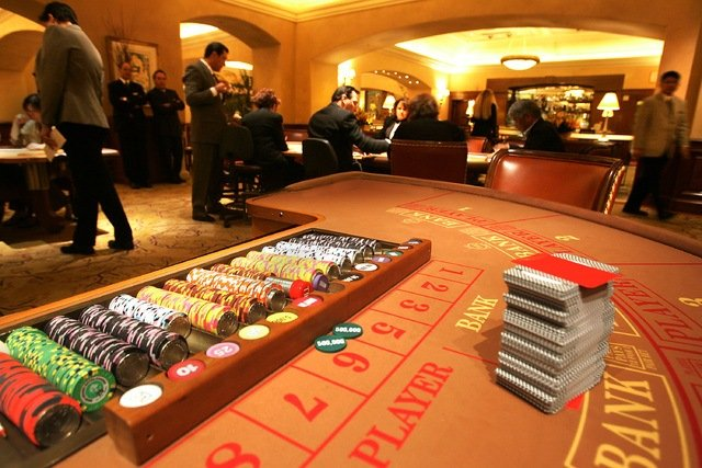 Baccarat table situated in the MGM Grand high-limit room