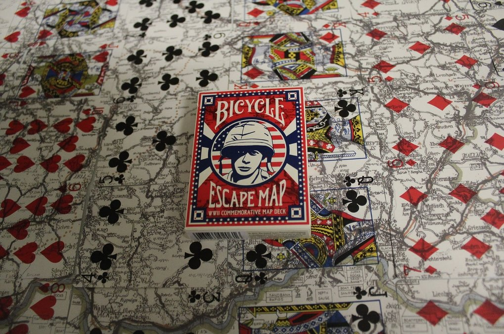 Bicycle cards in WWII when peeled apart displayed an escape map
