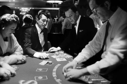 blackjack table photo in black and white