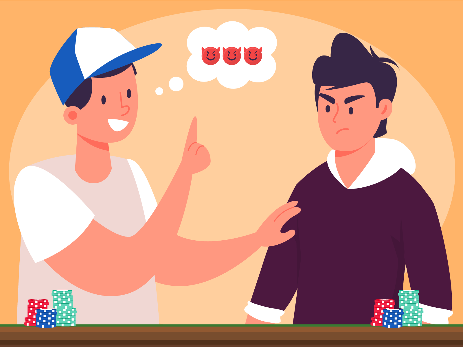 Person giving advice in poker, with bad intentions