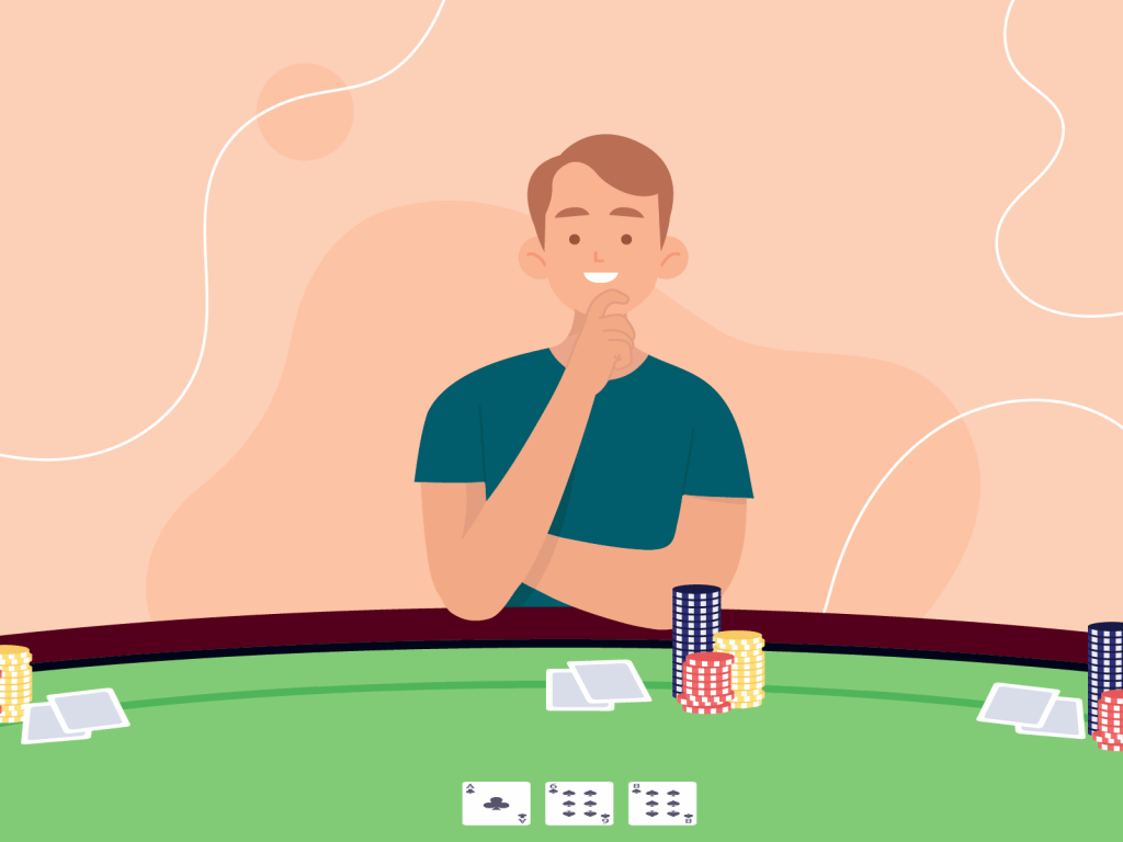 Poker player with relaxed body language