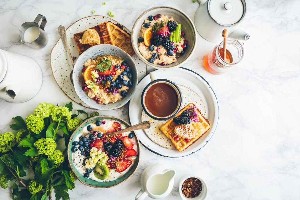Breakfast spread of food