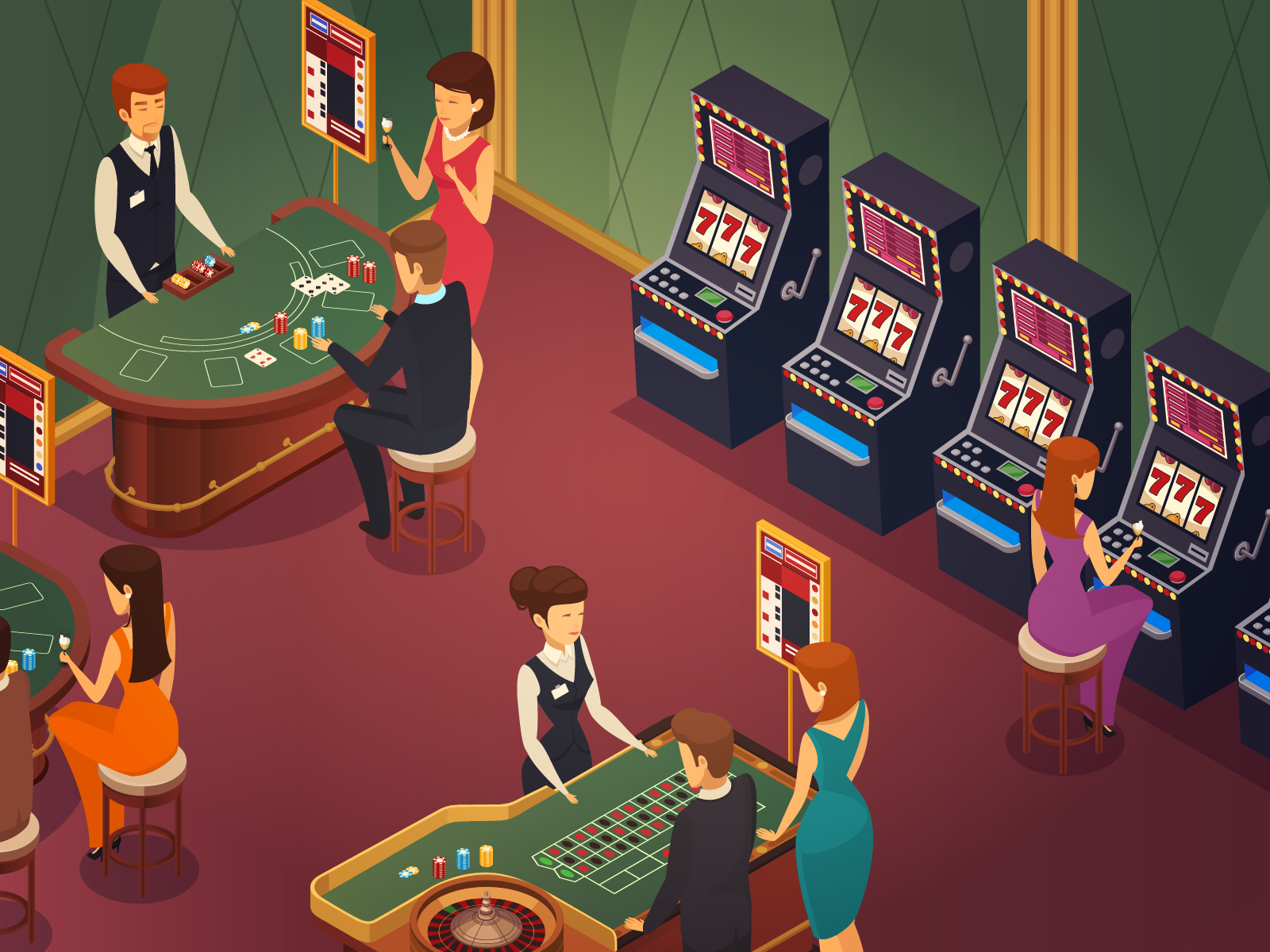 Orang-orang berjudi di kasino
