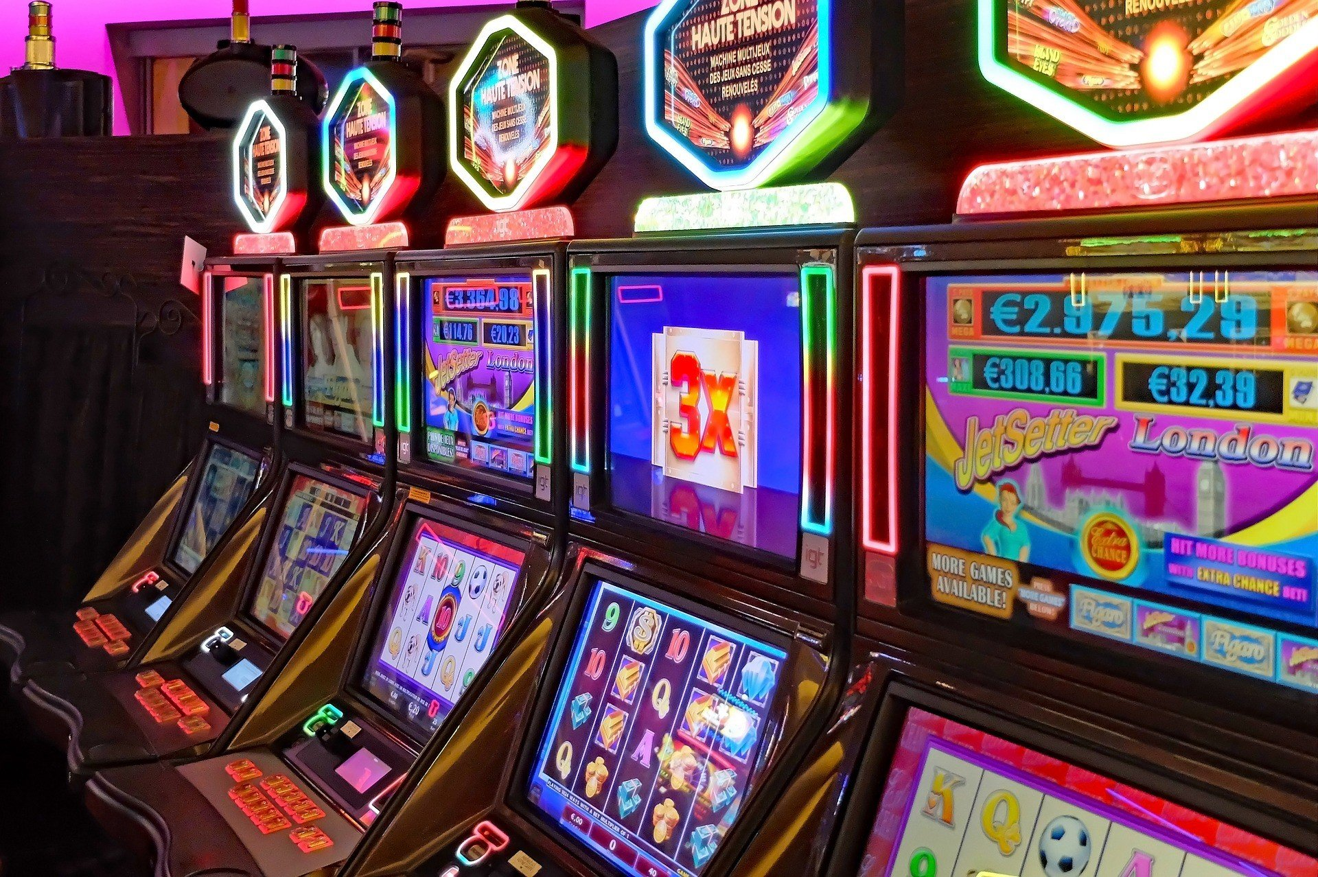 Slot machines in a casino.