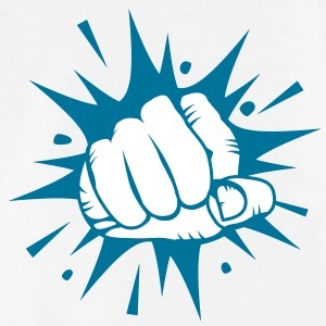 blue comic fist on white background