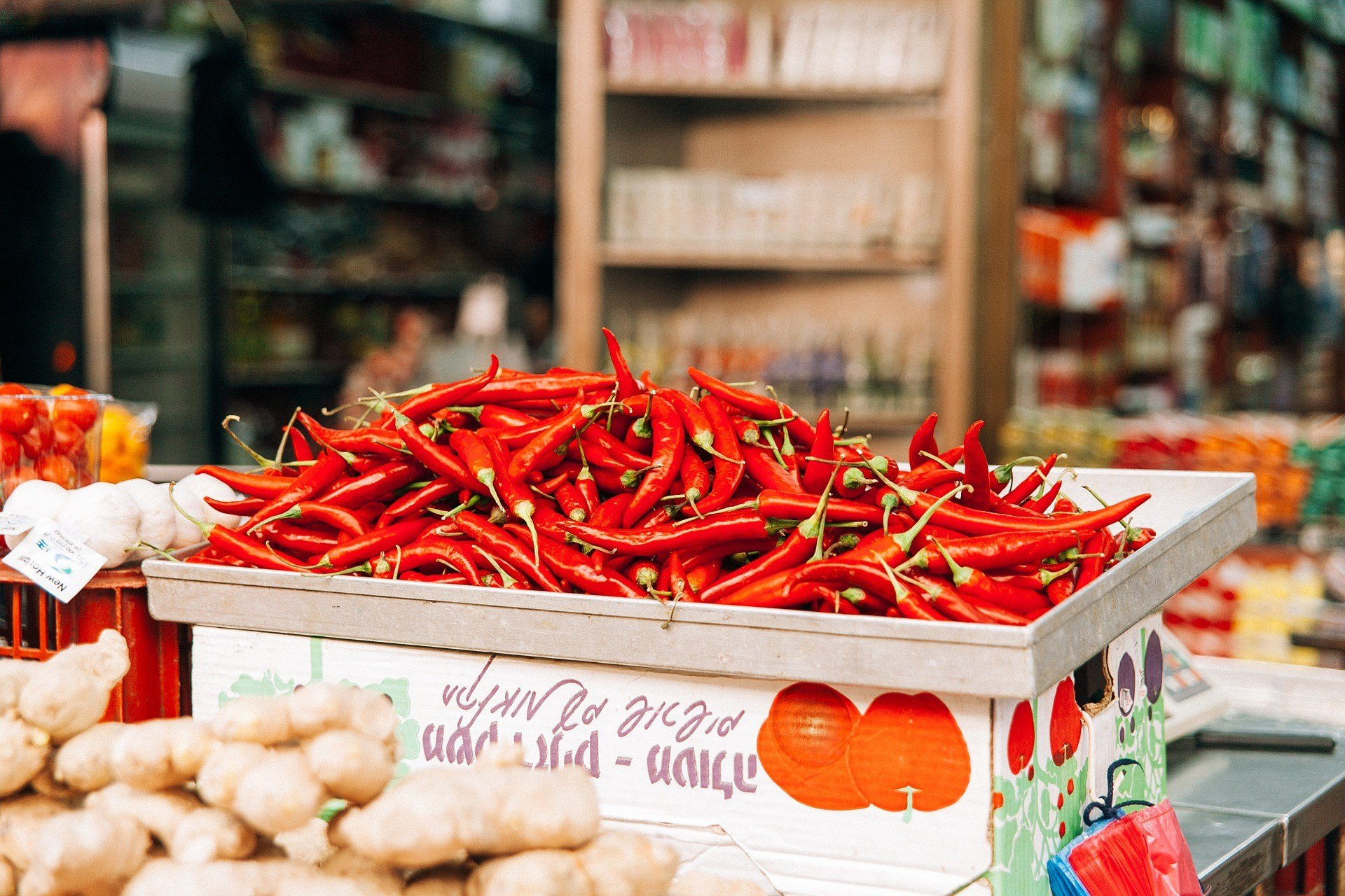 Chillies in a box.