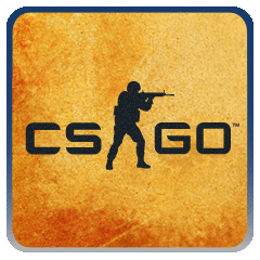 CSGO logo on yellow background