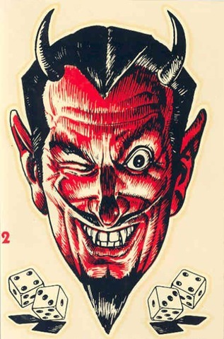 red devil face devil with dice