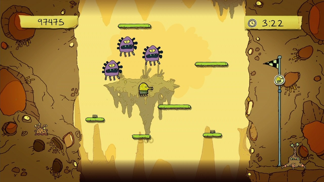 In-game action of Doodle Jump on a brown and yellow background