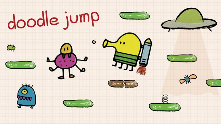 Doodle Jump logo on a cream background