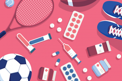 Illustration of sports equipment with needles and pills