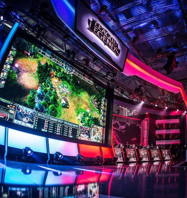The gaming stage at an eSports League of Legends event