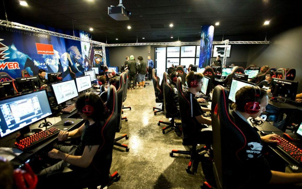 An image of eSports college students practicing at their favorite games