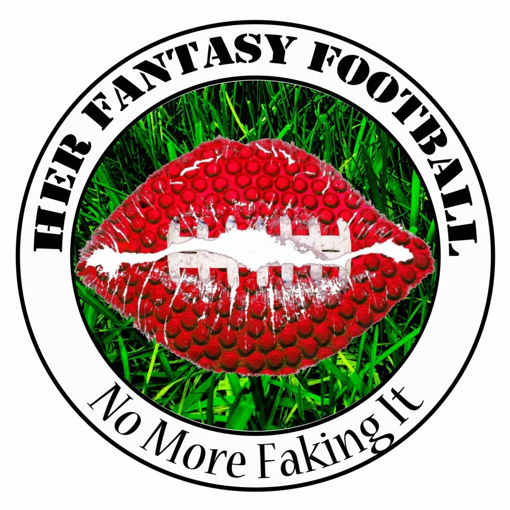 Her Fantasy Football podcast logo with slogan on a white background