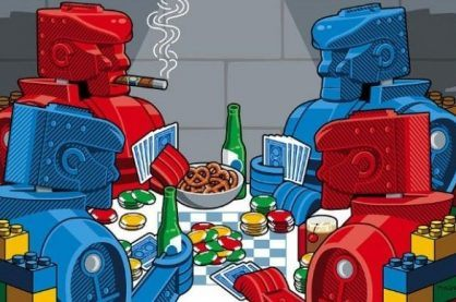 robots sit around playing poker