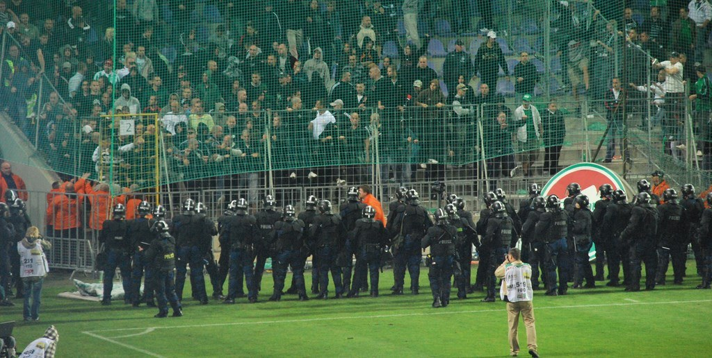 Ferencvaros fans being contained by riot police