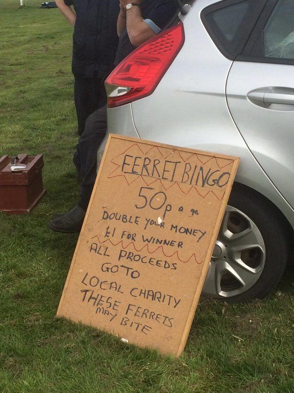 sign showing price to bet on ferret bingo