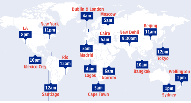 map showing Mayweather local fight times around the world
