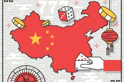 Image showing map of China with gambling illustrations surrounding it