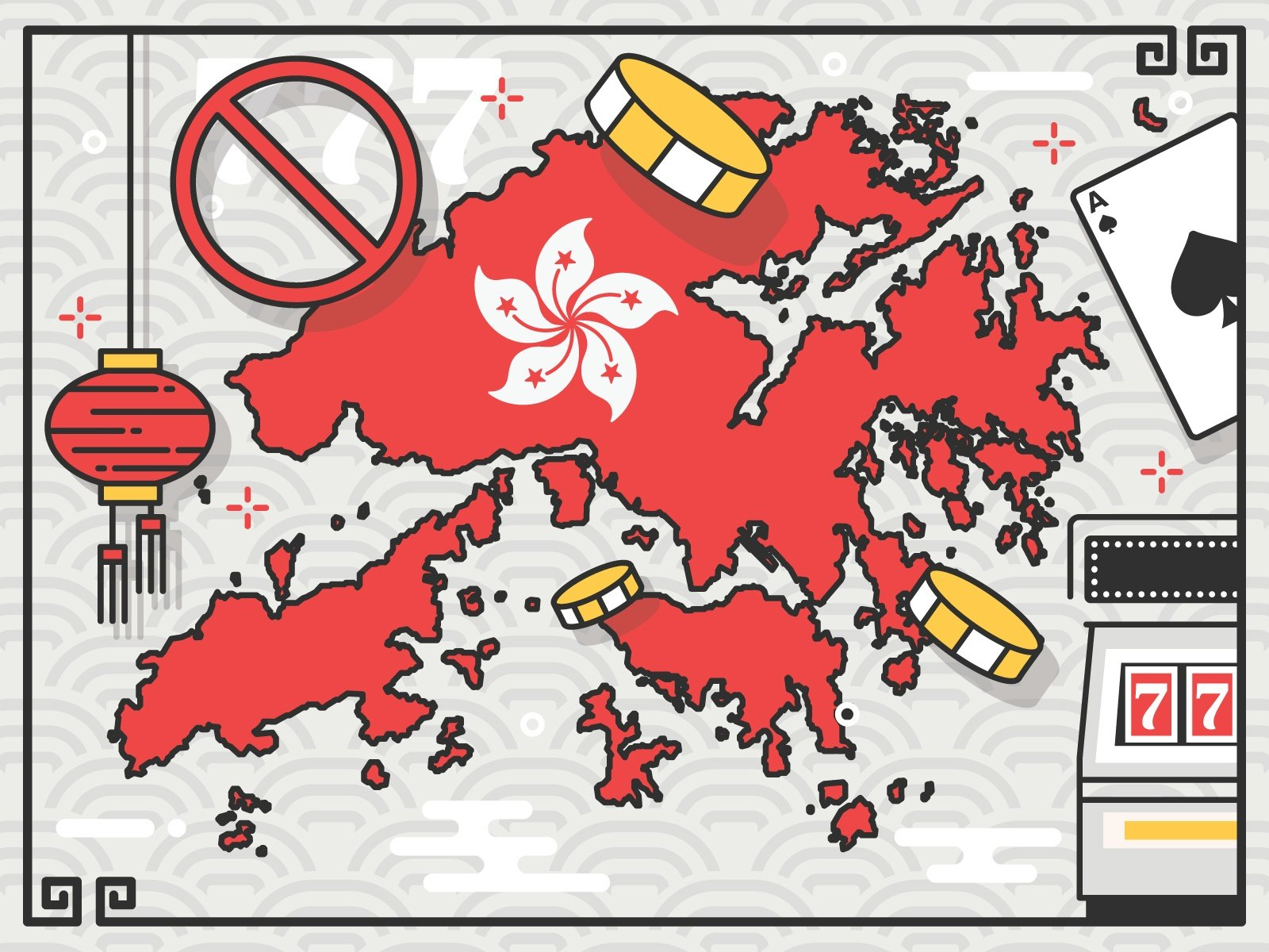 Image showing map of Hong Kong with gambling illustrations surrounding it