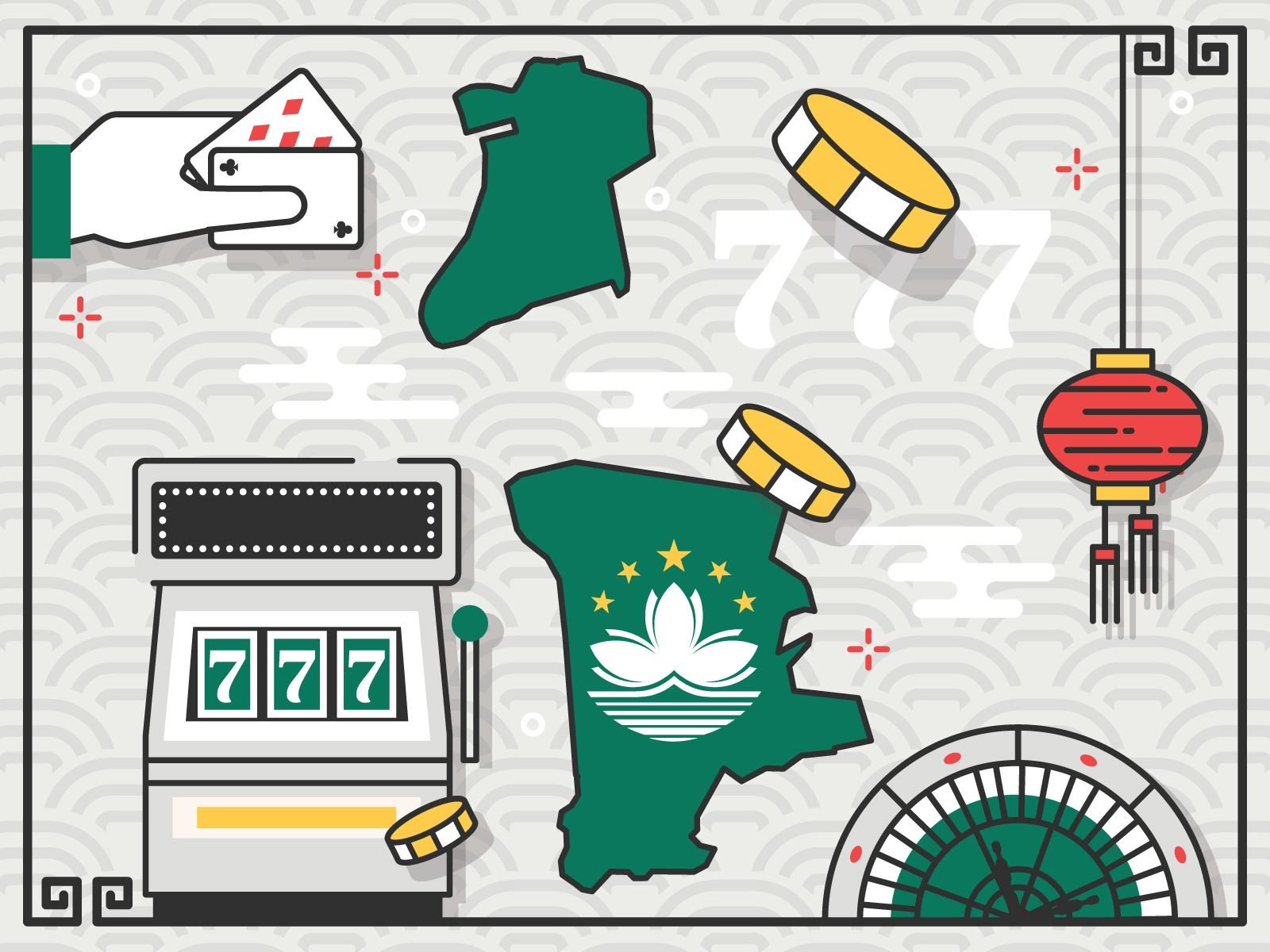 Image showing map of Macau with gambling illustrations surrounding it