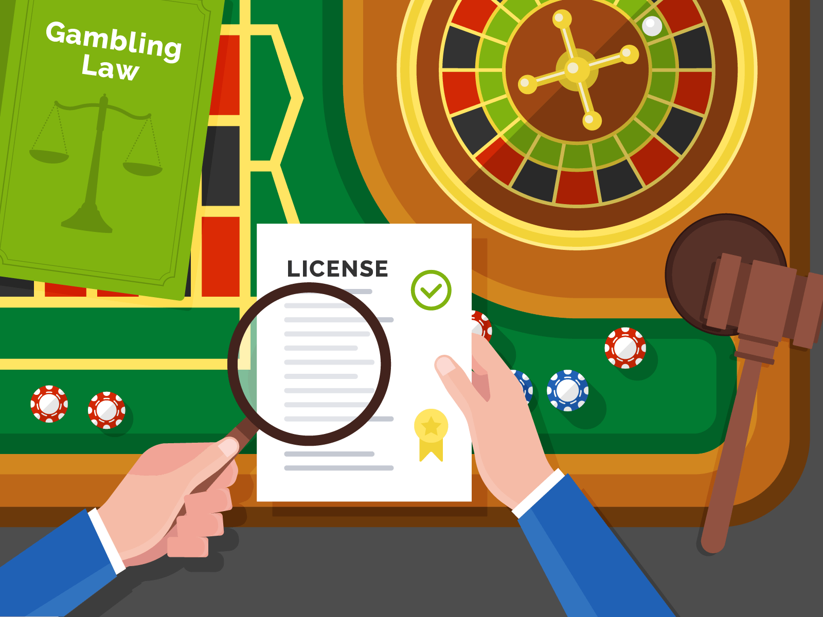 gambling license and roulette wheel