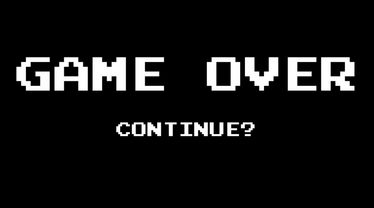 old skool game over screen