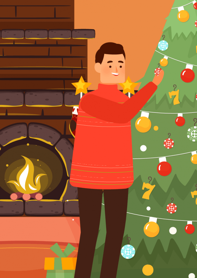 cartoon gambler by Christmas tree