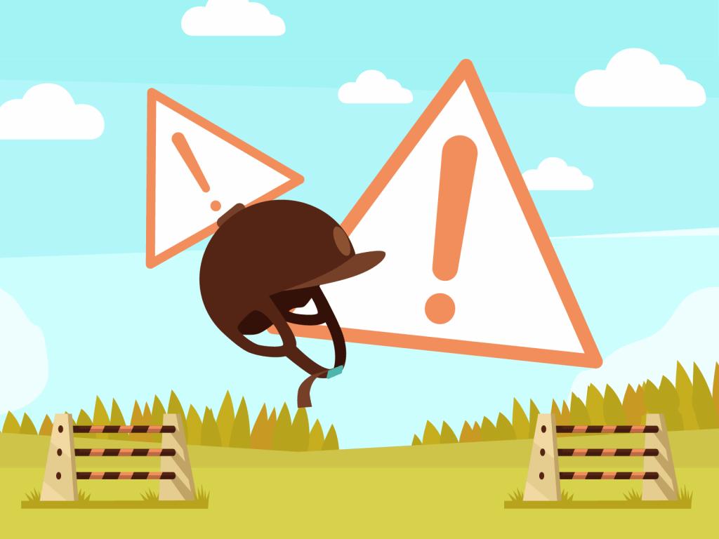 Lompat kuda, helm dan tanda peringatan