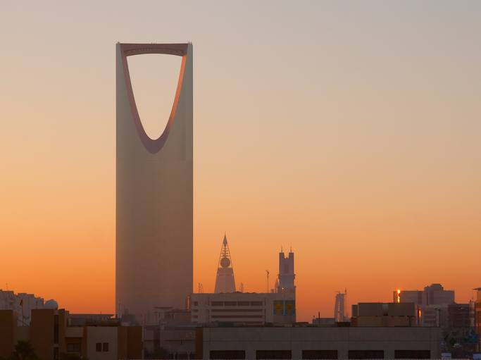 Saudi kingdom tower at sunset