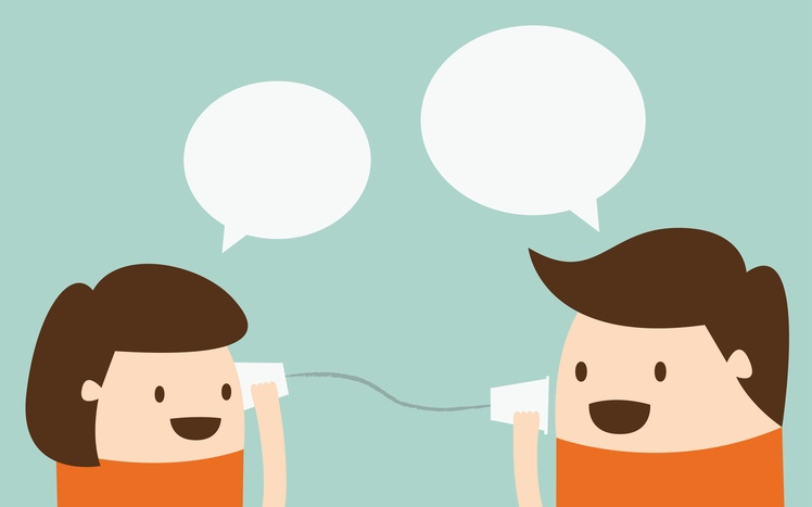 illustration of children talking on tin can phone