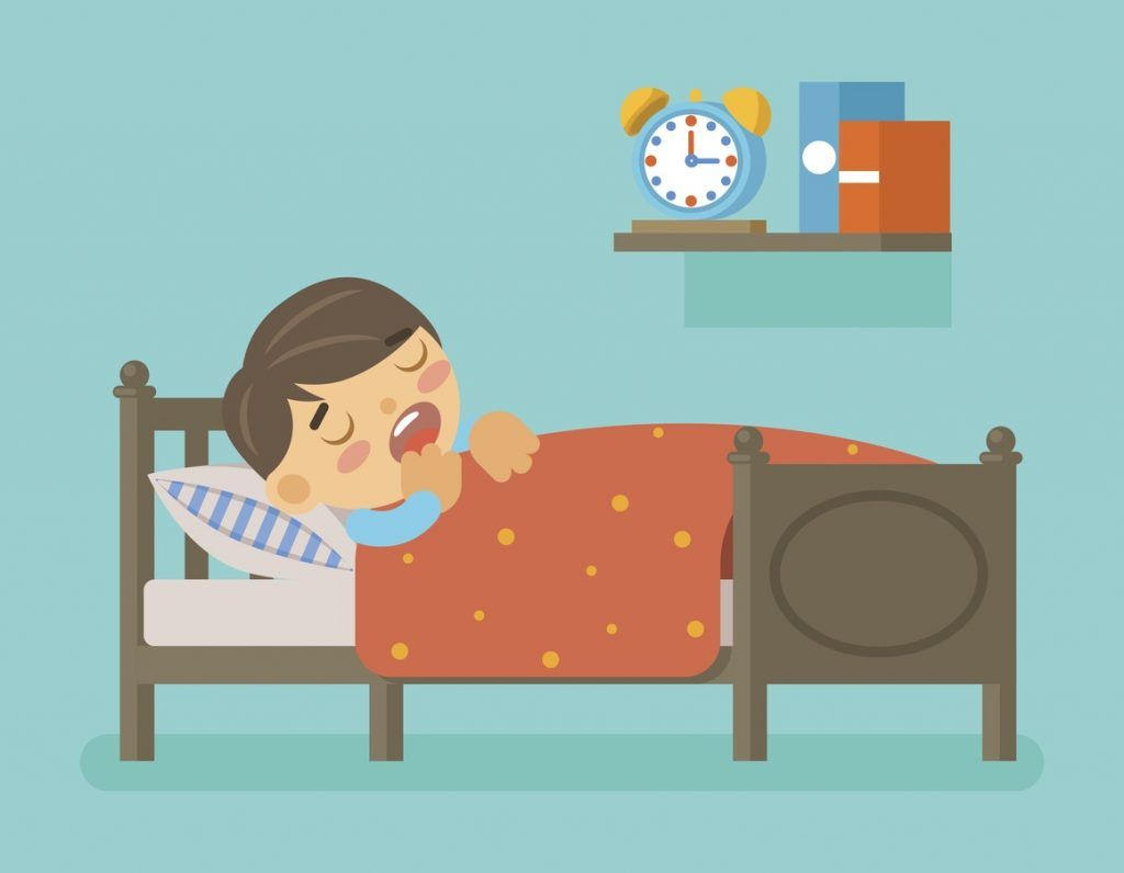 boy asleep in his bed illustration