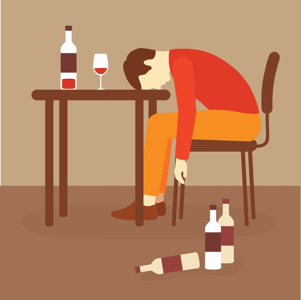 illustration of man collapsed at table surrounded by booze bottles