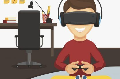 illustration of boy sitting on floor playing VR console games