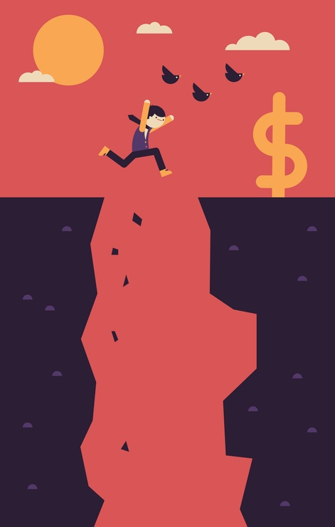 man jumping across cliff to cash dollar sign