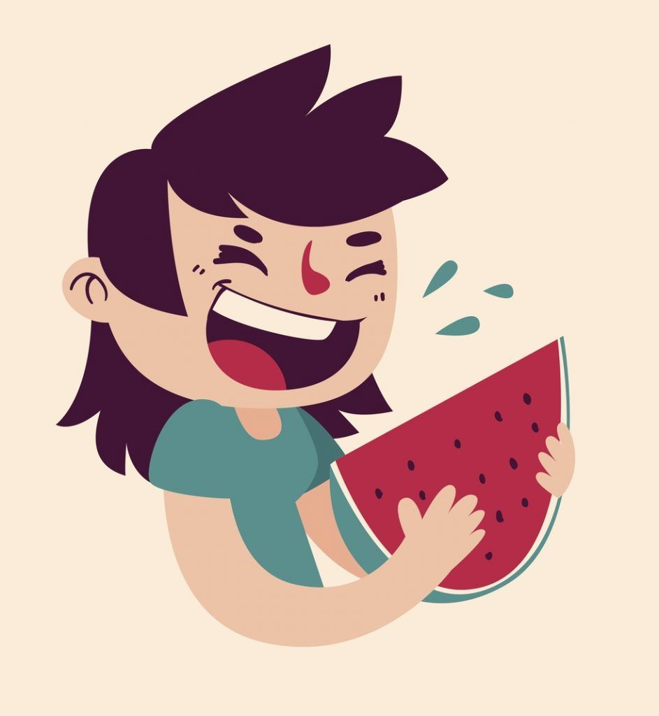 cartoon illustration of a girl child eating a piece of watermelon