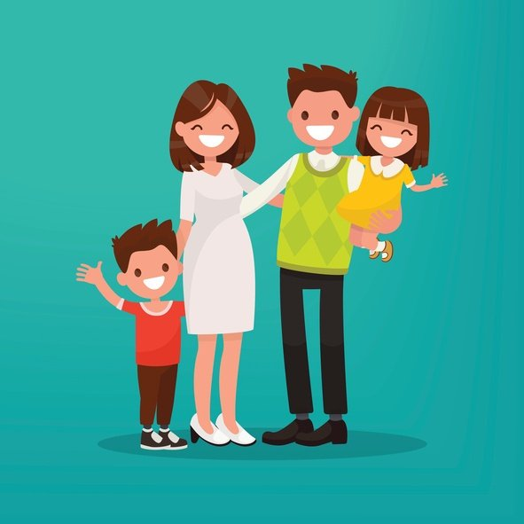 vector of family with children