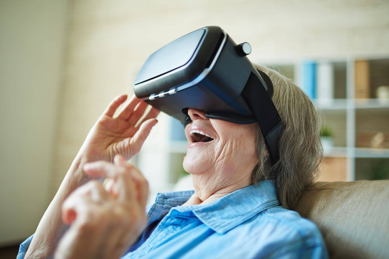 old woman with VR headset
