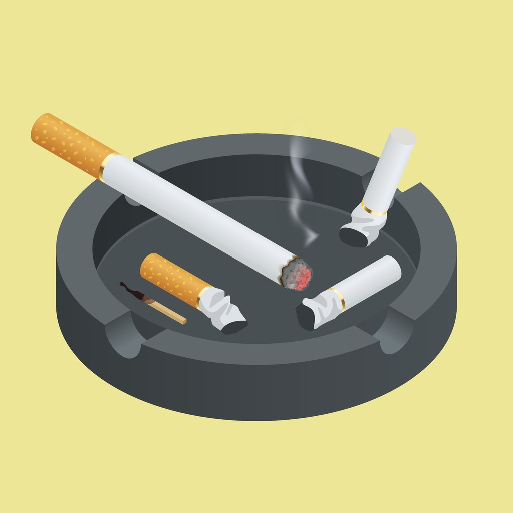 illustration of smoking in casinos on yellow background