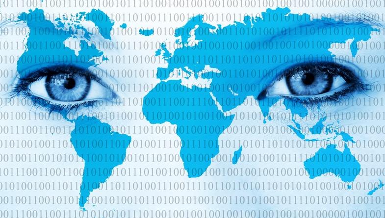 eyes on world map