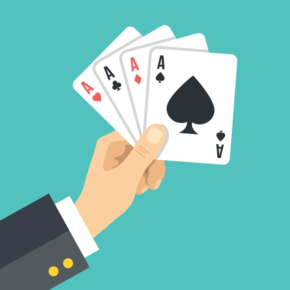 vector of hand and playing cards blue background