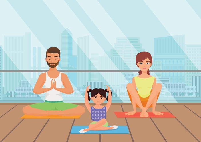 Illustration of family doing yoga together