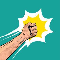 cartoon fist on blue background