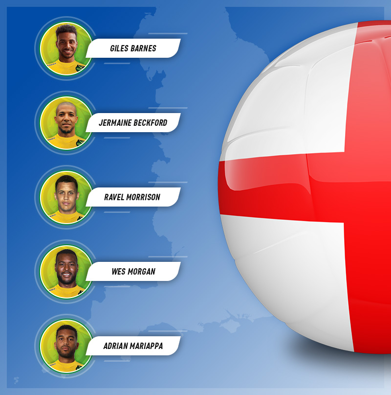 Five players who chose to play for Jamaica over England, on a map background of England