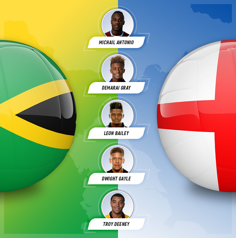 Five players who are eligible for both England and Jamaica, on a background of both flags