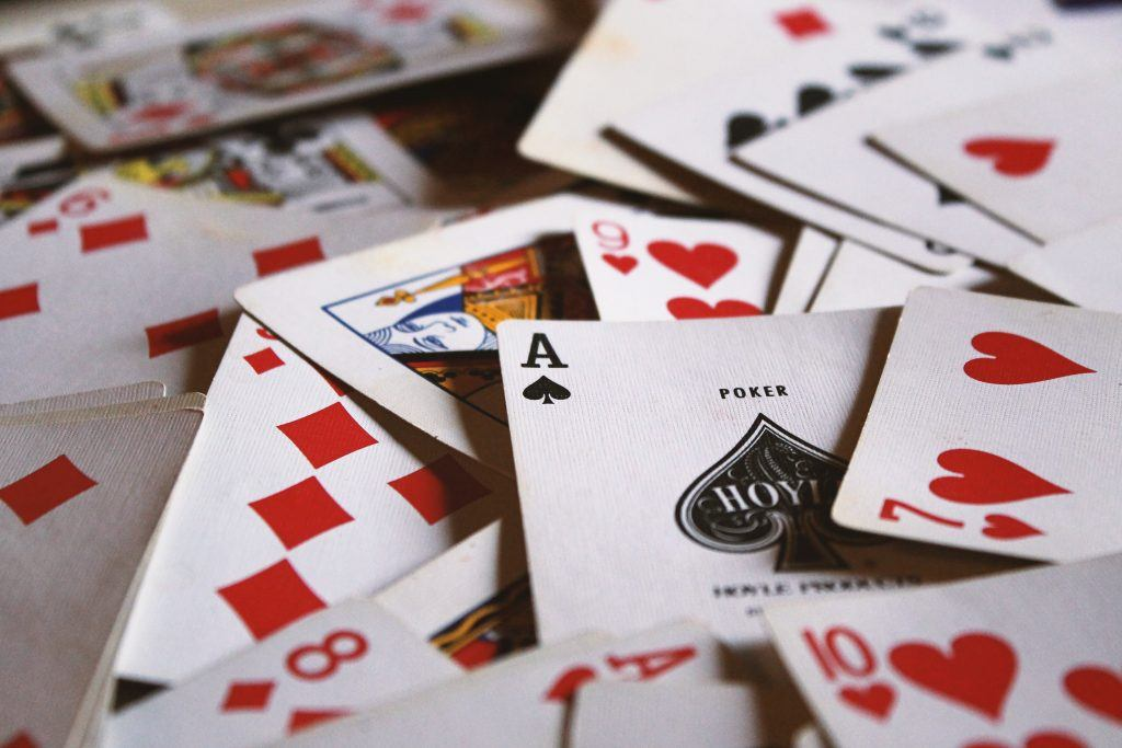 spread out playing cards